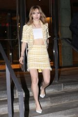 Suki Waterhouse Arrives for Gigi Hadid's 23rd birthday party at the One Hotel in Brooklyn