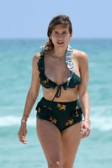 Cathy Fischer In a two-piece green bikini in Miami Beach, Florida