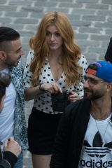 Katherine McNamara Meets at the Austerlitz quay to take a boat trip on the Seine in Paris