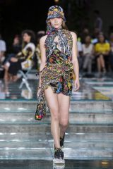 Grace Elizabeth At Versace Men's Spring/Summer 2018 show during Milan Fashion Week in Milan, Italy