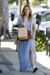 Chloe Bennet Out shopping in a blue dress in Los Angeles