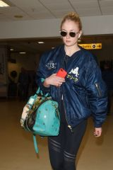 Sophie Turner At Aberdeen airport for Kit Harington and Rose Leslie wedding