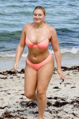 Iskra Lawrence In skimpy pink bikini while enjoying a sun soaked day on the beach in Miami