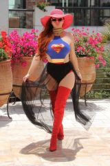 Phoebe Price In a Superwoman costume in Beverly Hills