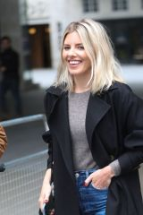 Mollie King Stuns in denim exits BBC Studio in London