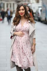 Myleene Klass Shows pregnancy bump arriving at Global Radio in London