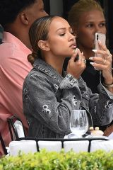 Karrueche Tran At L'Avenue restaurant in Paris