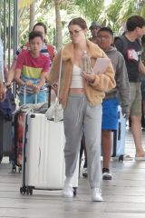 Maia Mitchell and Rudy Mancuso get ready to board at Cancun airport in Tulum