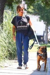 Isabela Moner Walking Pluto in West Hollywood