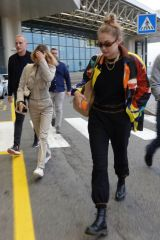 Bella & Gigi Hadid At Milan Malpensa Airport