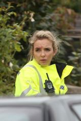 Jodie Comer Disguised as a police officer on the set of 'Killing Eve'