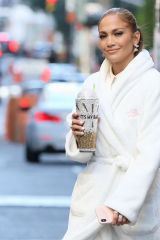 Jennifer Lopez Carrying her favorite coffee cup on the set of 'Marry Me' in New York City