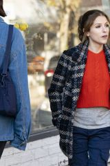 """Anna Kendrick Holds hands with a fellow actor while filming scenes for """"Love Life"""" in Tarrytown, NY"""