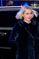 Lucy Boynton Seen outside Good Morning America in New York City