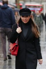 Myleene Klass Wears trendy hat arrives Smooth Radio in London