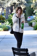 Katherine Schwarzenegger In a white coat and black leggings as she steps out to treat herself to a spa day in Los Angeles