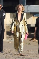 Amber Valletta Attends a photoshoot on the beach in Malibu
