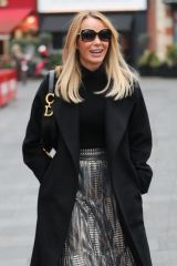 Amanda Holden Wears a metallic skirt exits the Heart Radio Studios in London