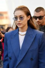 Gigi Hadid Is seen arriving at the Prada fashion show
