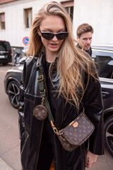 Romee Strijd Arriving at the Moschino Fashion Show in Milan