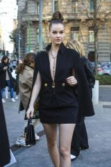 Barbara Palvin Arriving for the Versace Fashion Show in Milan
