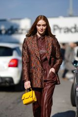 Larsen Thompson Out and bout during Milan Fashion Week