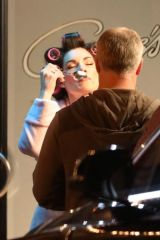 Jaimie Alexander Films a vegan ice cream commercial in hair curlers and a bathrobe in West Hollywood