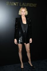 Amber Valletta At Saint Laurent show at Paris Fashion Week Womenswear F/W 20/21
