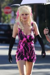 Emmy Rossum On the set of 'Angelyne' in Los Angeles