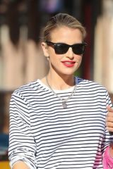 Vogue Williams Looking hot in PVC Leggings and stripes exits Heart Radio show in London