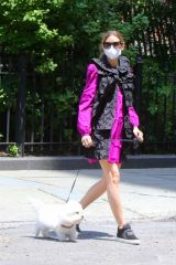 Olivia Palermo Pictured taking her dog 'Mr Butler' out for a walk in Downtown, Brooklyn