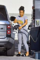 Christina Milian Pumping gas in Studio City