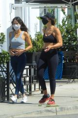 Elisabetta Canalis Goes for a walk with a friend in West Hollywood