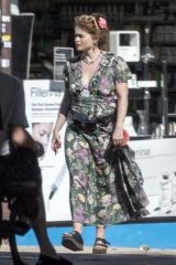 Helena Bonham Carter Takes her pet dog to the vet and looks emotional on her way home in London