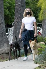 Annabelle Wallis Jogging with her dogs in Los Angeles