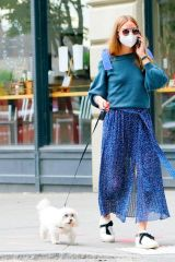 Olivia Palermo Walks her dog, Mr. Butler in Brooklyn, New York