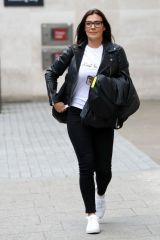 Kym Marsh In a black leather jacket with black jeans as she is pictured exiting the BBC TV studios in London