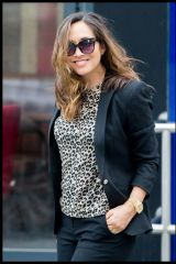 Myleene Klass Seen Arriving At The Global Radio Studios In London