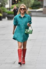 Ashley Roberts Exits Heart radio in shirt dress and red boots in London