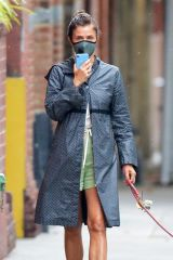 Helena Christensen Walking her dog during a break in the rain in New York City