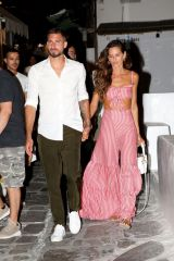 Izabel Goulart and her boyfriend Kevin Trapp enjoying an evening out on Mykonos island