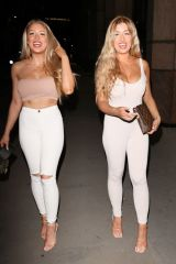 Eve & Jess Gale Love Island Twins out in London last night