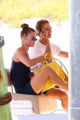 Nina Agdal At Boat ride in The Hamptons