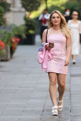 Sian Welby In Pink dress walking in London