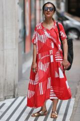 Anita Rani At BBC studios in patterned summer dress standing in for Jo Whiley radio show in London