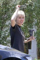 Miley Cyrus Outside a friend's house in Calabasas