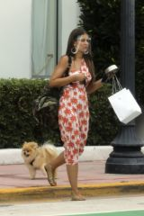 Vanessa Claudio Steps out with her Pomeranian pup from The Savoy Hotel in Miami Beach