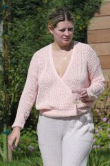 Mischa Barton Enjoys the sun rays as she sips on what looks to be a plastic cup with white wine outside her L.A. home