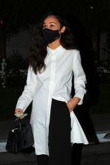 Cara Santana Dons a stylish monochrome outfit for dinner at the San Vicente Bungalows in Los Angeles