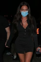 Anastasia Karanikolaou Keeps a low profile as she leaves a party in Hollywood